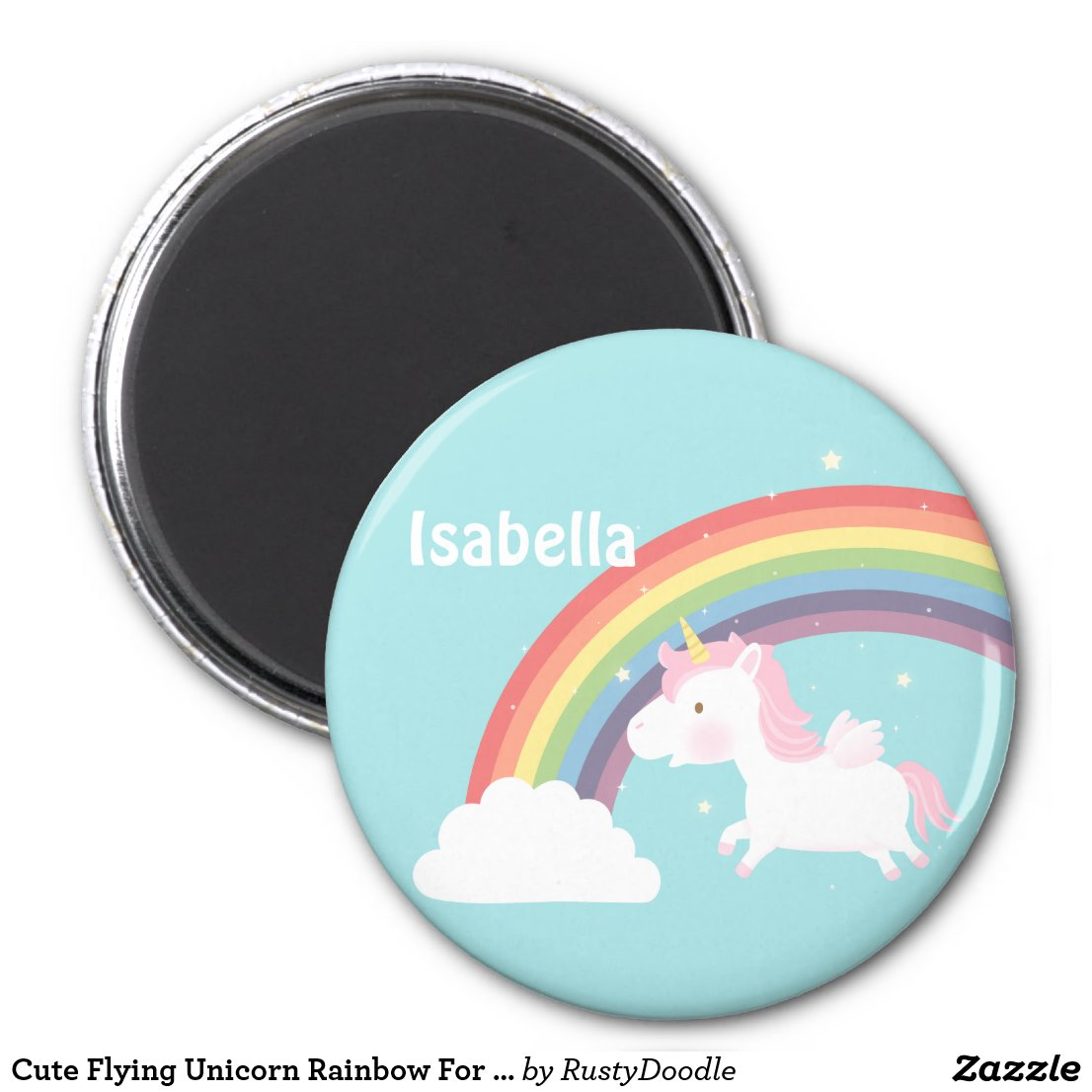 Cute Flying Unicorn Rainbow For Girls Magnet