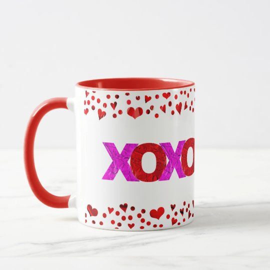 Cute, Giant Red & Pink Foil XOXO Valentine's Day Mug