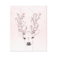 Cute handdrawn floral deer antlers pink watercolor canvas print