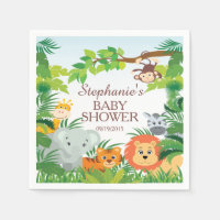 Cute Jungle Safari Animals Baby Shower Napkins Standard Cocktail Napkin