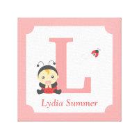 Cute Ladybug Baby Girl Nursery Letter Name Print Canvas Print