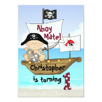 Cute Little Buccaneer Pirate 1st Birthday Invite