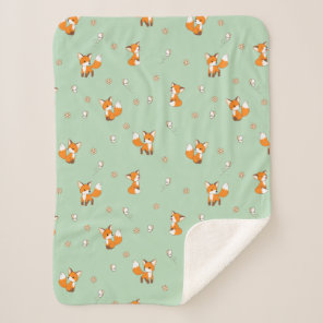 Cute Little Foxes Pattern on Green Sherpa Blanket