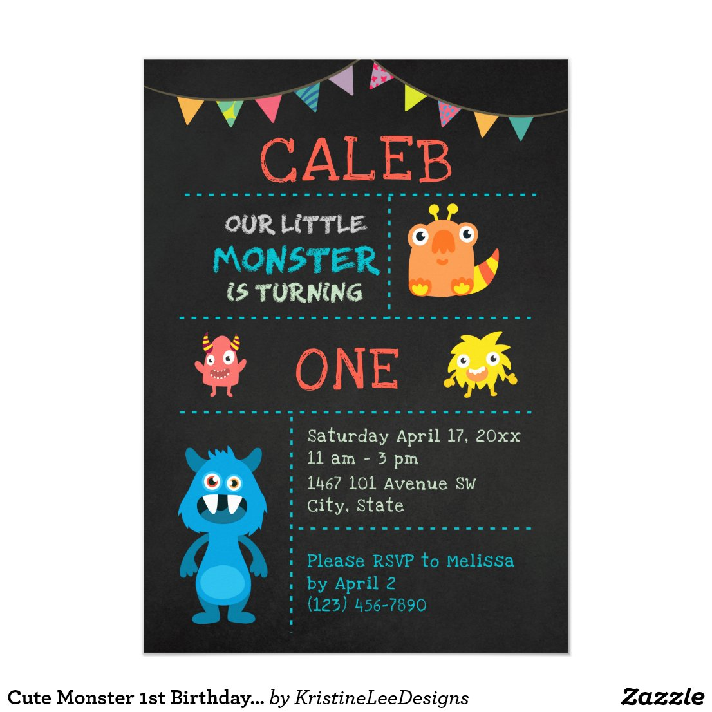 Cute Monster 1st Birthday Chalkboard Banner Invitation