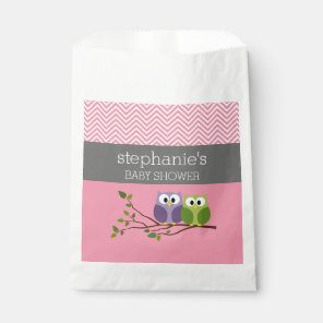 Cute Owls on Branch Baby Girl Shower Pink Favour Bags