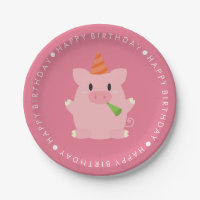 Cute Pig Birthday Party 7 Inch Paper Plate