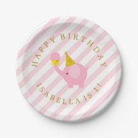 Cute Pink Elephants Personalized Birthday Paper Plate