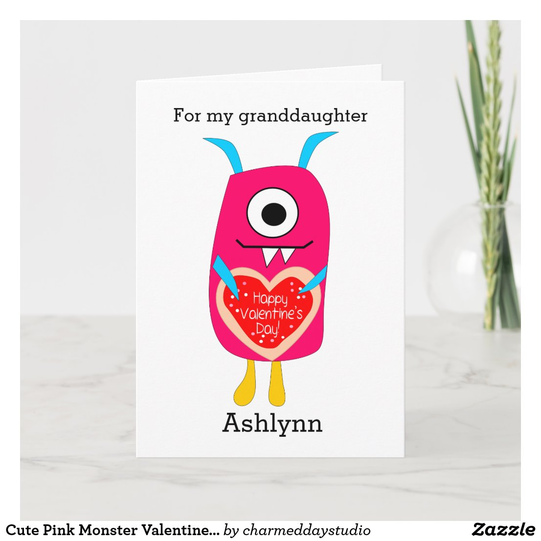 Cute Pink Monster Valentine Granddaughter Holiday Card
