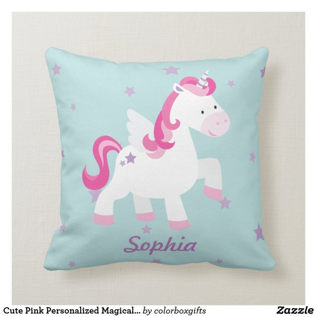 Cute Pink Personalised Magical Unicorn Pillow