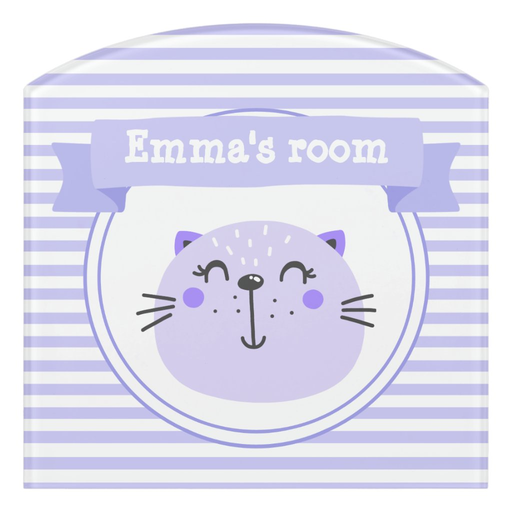 Cute Purple Cat | Personalised Lilac Striped Kids Door Sign