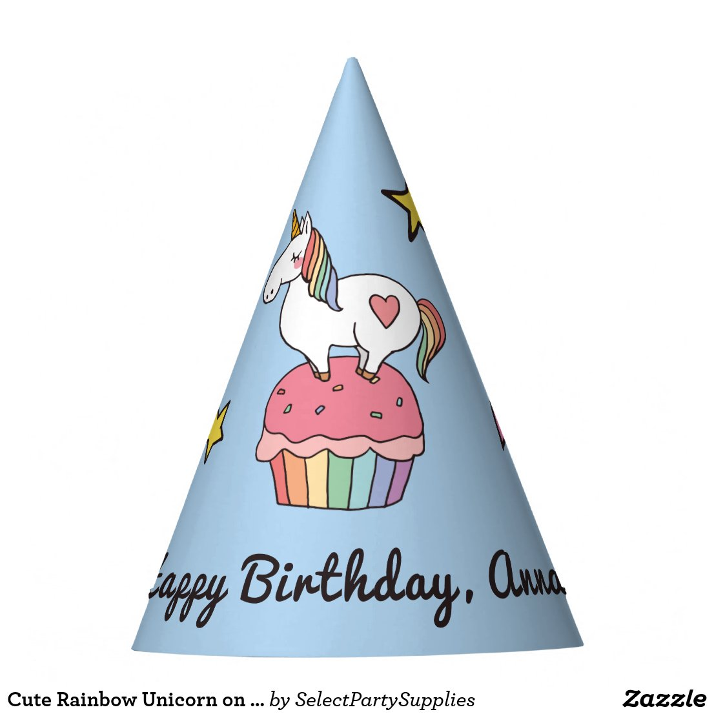 Cute Rainbow Unicorn on Birthday Cupcake Party Hats