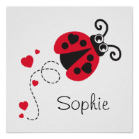 Cute red flying ladybug kids name poster