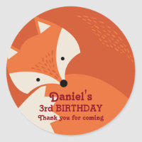 Cute Red Fox Cartoon Animals Birthday Stickers