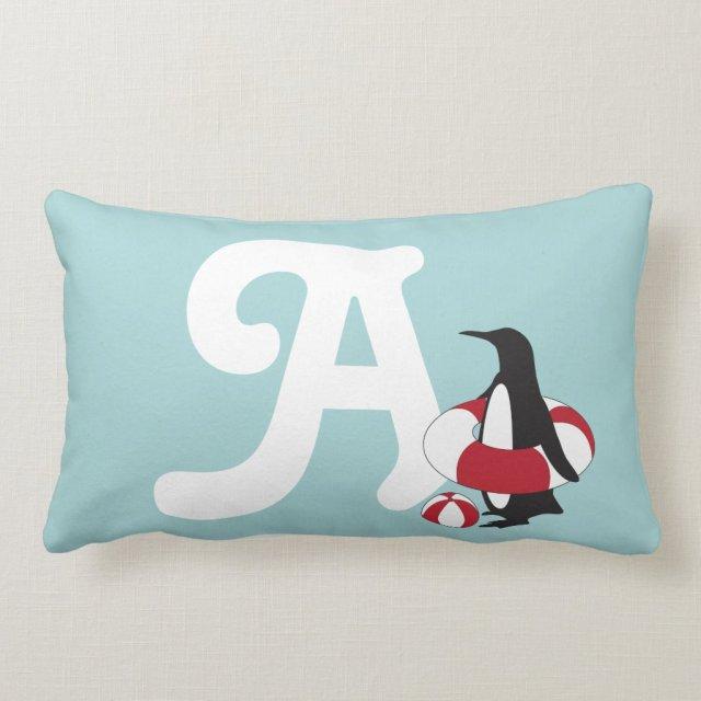 Cute Swimming Penguin Summer Fun Kids Monogram