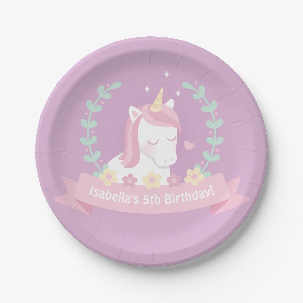 Cute Unicorn Flowers Girls Birthday Party Plates
