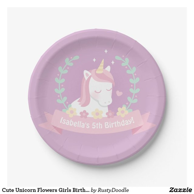 Cute Unicorn Flowers Girls Birthday Party Plates