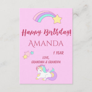 Cute unicorn happy magical birthday greeting card
