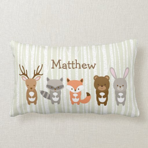 Woodland Animals Personalised Pillow