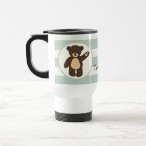 Cute Woodland Brown Bear; Sage Green Stripes Travel Mug