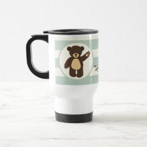 Cute Woodland Brown Bear; Sage Green Stripes Travel Mug
