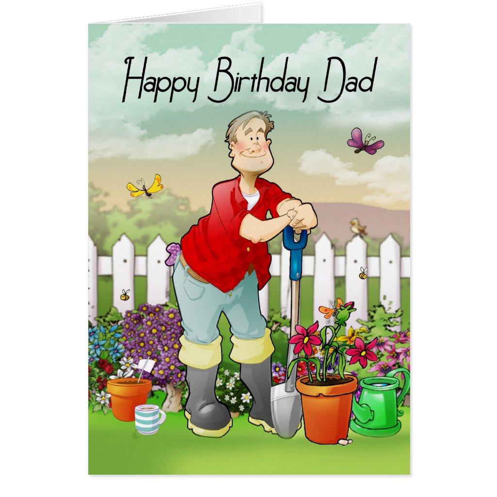 dad gardener birthday greeting card
