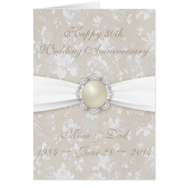 Damask 30th Wedding Anniversary Greeting Card