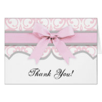 Damask Heart Pink Ribbon Baby Shower Thank You Stationery Note Card