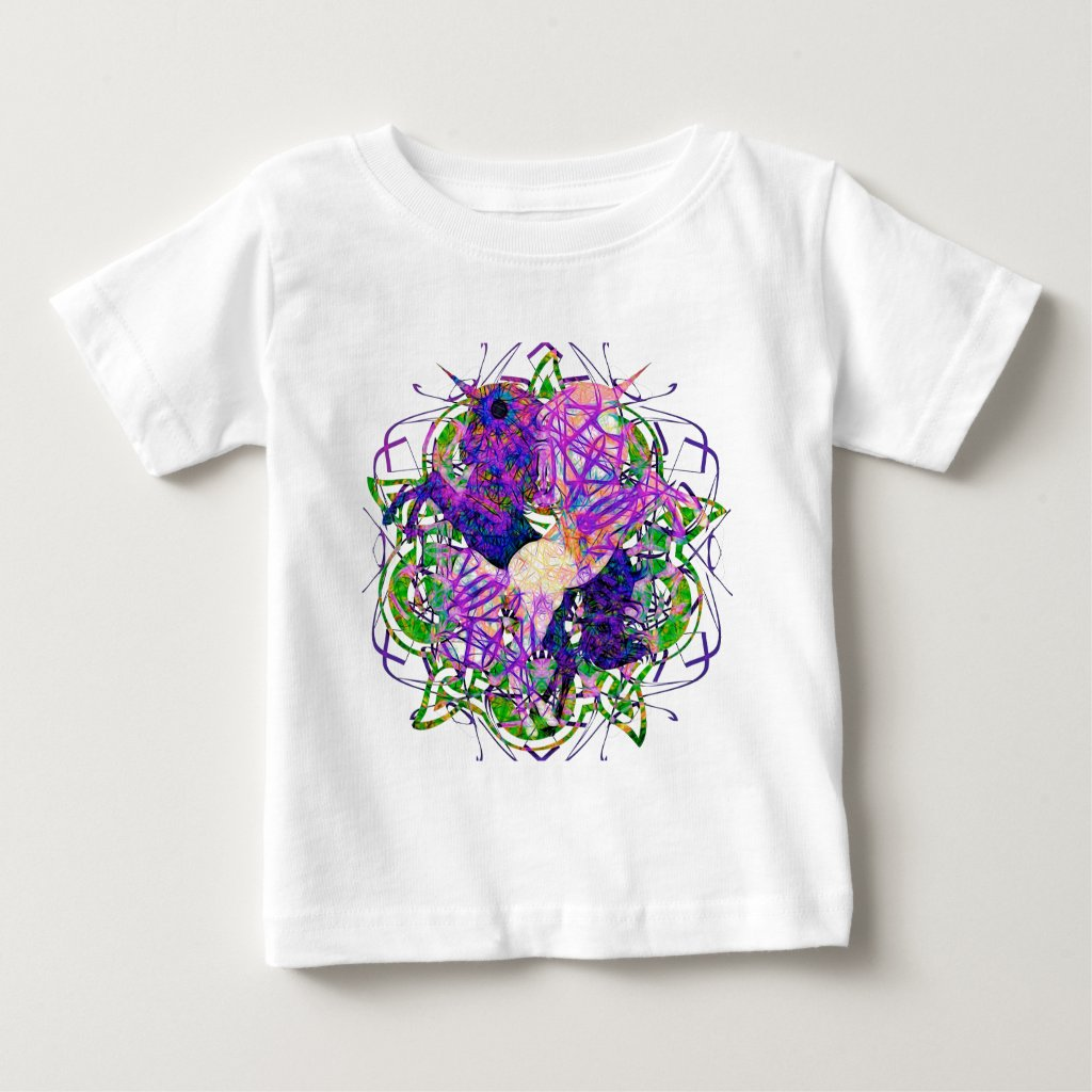 Dancing Prancing Unicorns In Black And Purple Baby T-Shirt