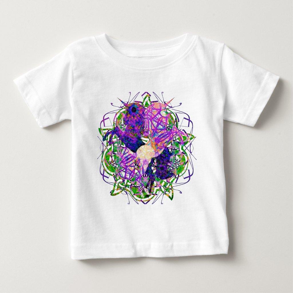 Dancing Prancing Unicorns In Black And Purple Baby T-Shirt