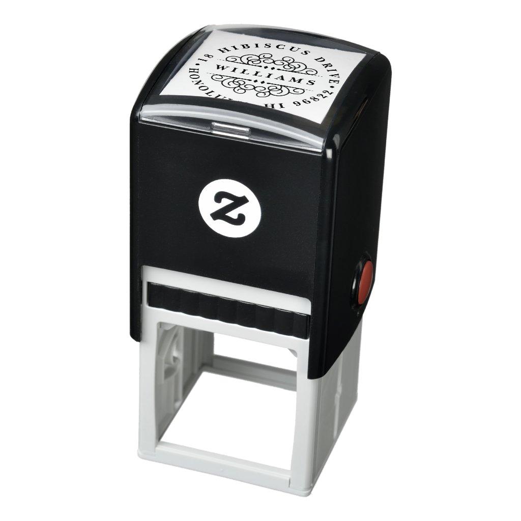 Deco Flourish Round Return Address Stamp