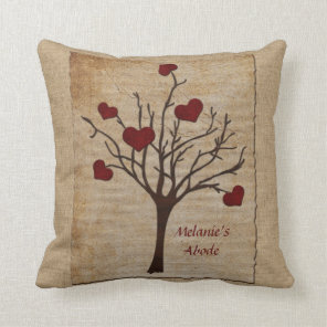 Deep Red Love Valentine Hearts Fruit Tree Cushion