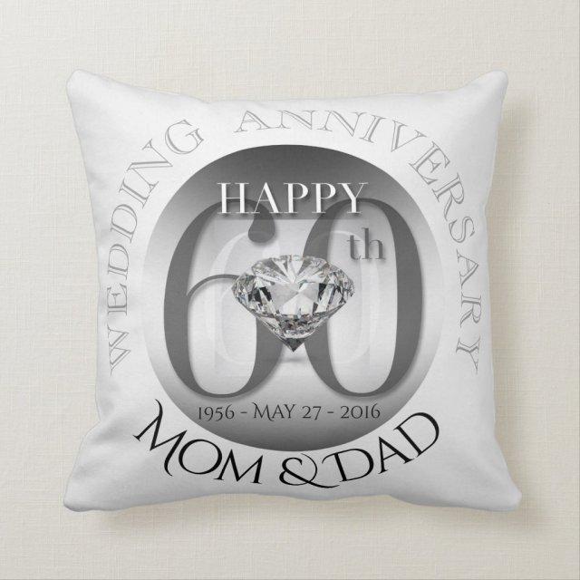 Diamond 60th Wedding Anniversary Pillow