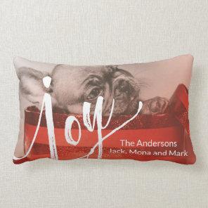 Dog Merry Christmas Gradient Red Photo Lumbar Cushion