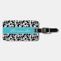Ebony Monogrammed Elements Print Bag Tag