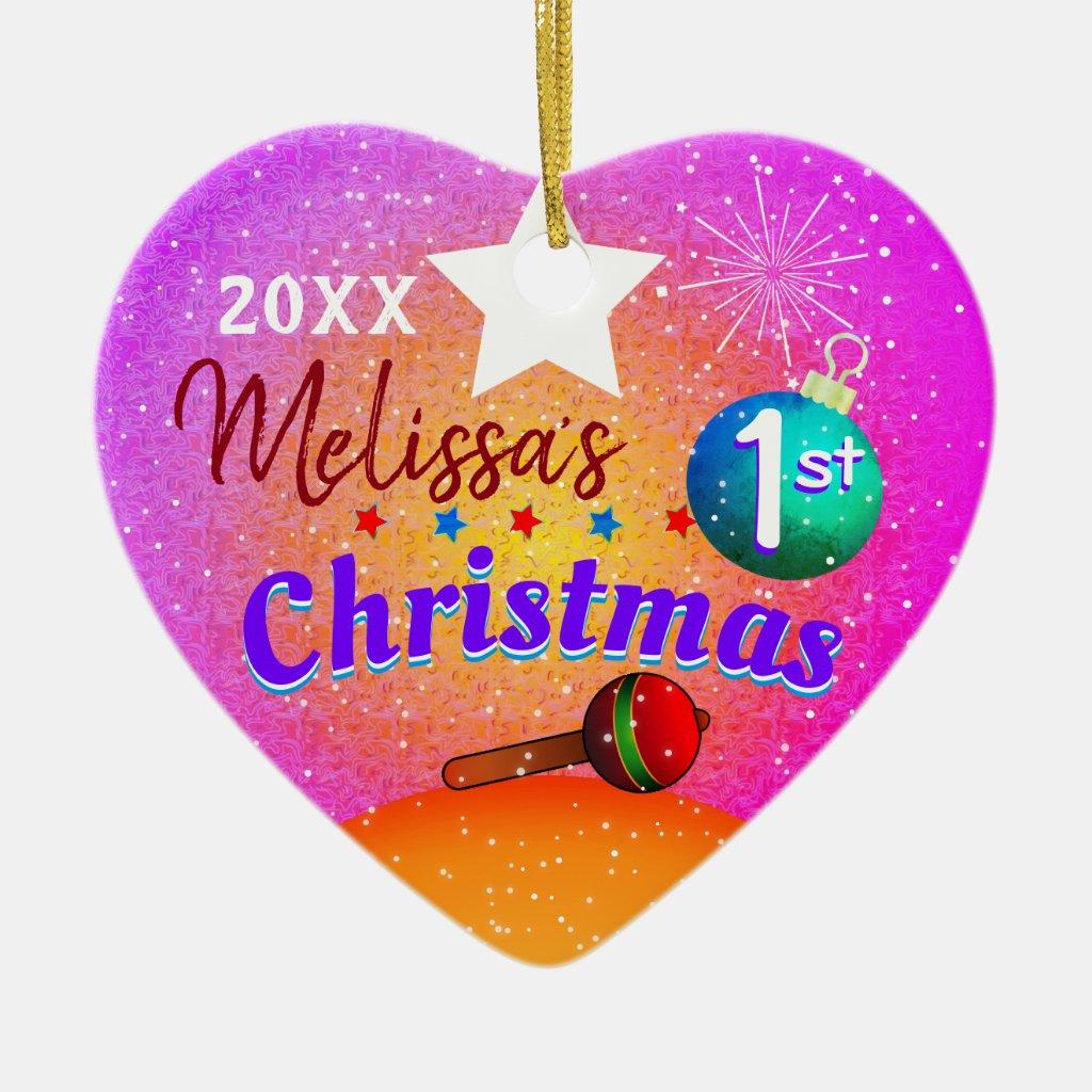 (Editable) Baby's First 1st Christmas Christmas Ornament