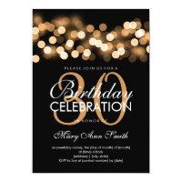 Elegant 30th Birthday Party Gold Hollywood Glam Card