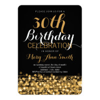 Elegant 30th Birthday Party Sparkles Gold Card