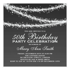 Elegant 50th Birthday Party Black String Lights Card