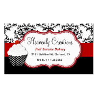 Elegant Damask Cupcake Bakery Business Card