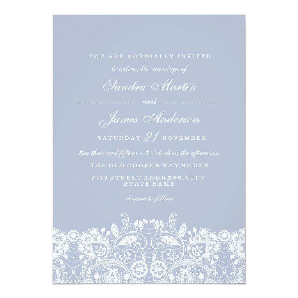 Elegant Dusty Blue White Lace Wedding Invite