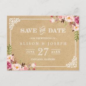 Elegant Floral Frame Kraft Wedding Save the Date Announcement Postcard