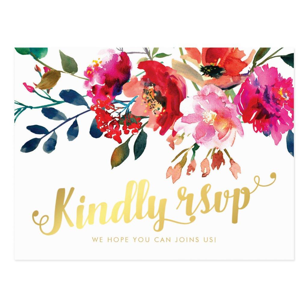 Elegant Floral Watercolor White Gold Wedding RSVP