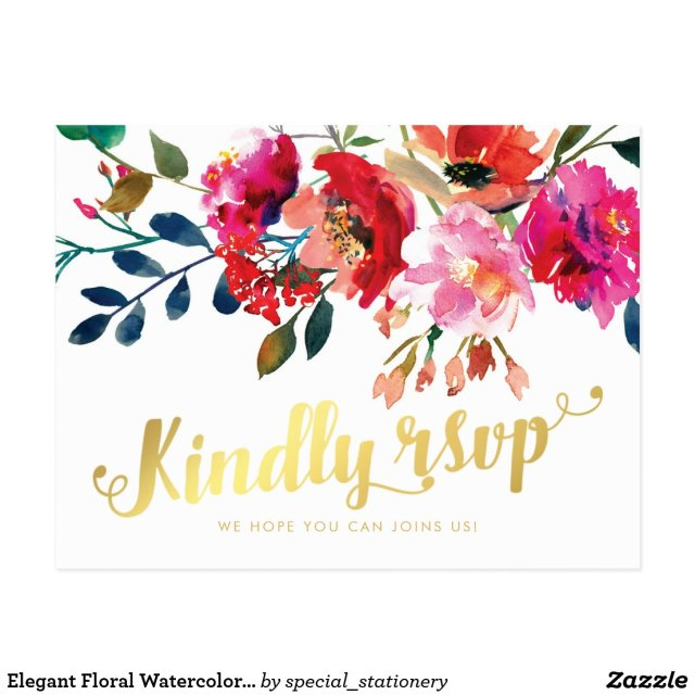 Elegant Floral Watercolor White Gold Wedding RSVP