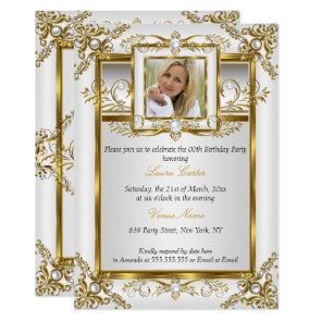 Elegant Gold White Pearl Damask Photo Birthday 4a Invitation