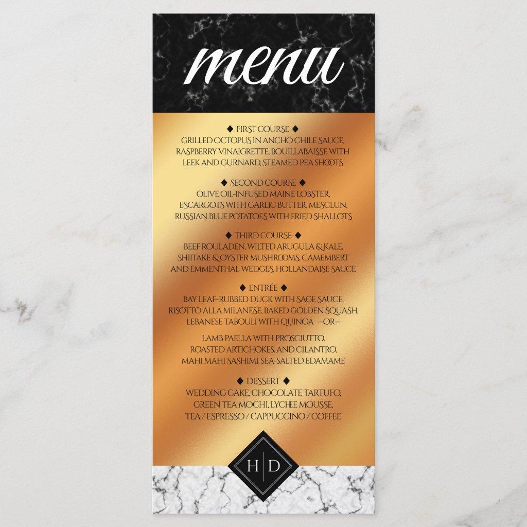 Elegant Marble & Copper Foil Wedding Menu