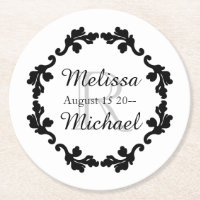 Monogram wedding paper coaster