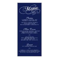 Elegant Navy Blue And White Wedding Menu Templates Personalized Rack Card