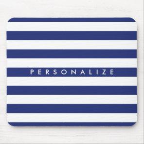 Elegant navy blue nautical stripe personalised mouse mat