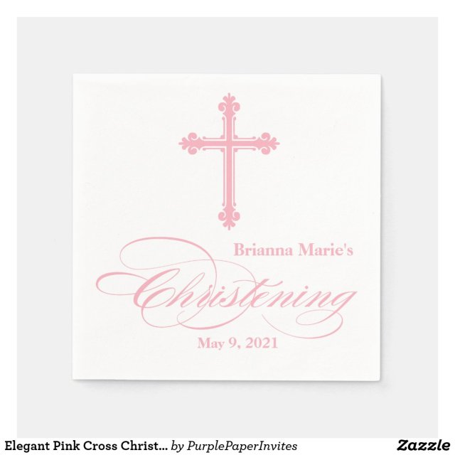 Elegant Pink Cross Christening Personalised Napkin