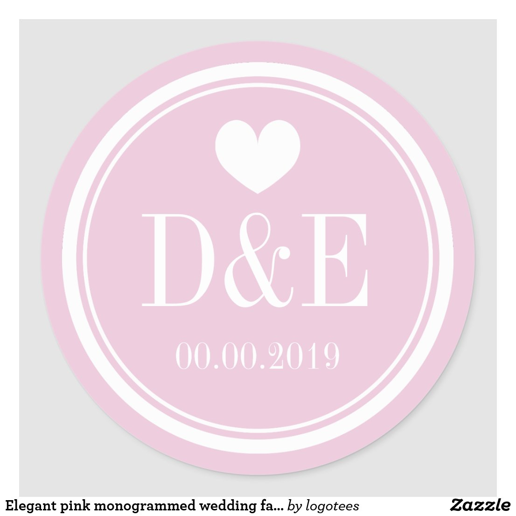 Elegant pink monogrammed wedding favour stickers